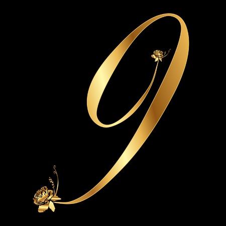 Gouden nummer 9 met rozen
