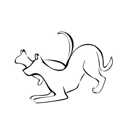 Cat and dog logo design Illustration