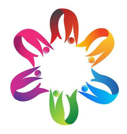 El trabajo en equipo de apoyo para ayudar logotipo de la aptitud Foto de archivo - 13042071