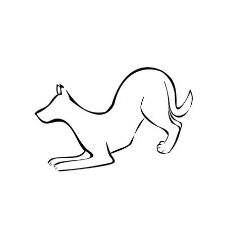 silueta de gato: Perro de la silueta