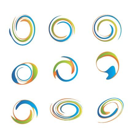 hypnotique: Jeu de logos grunge swirly utiles pour la conception de votre