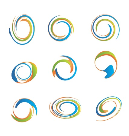 hypnotic: Set of swirly grunge logos useful for your design
