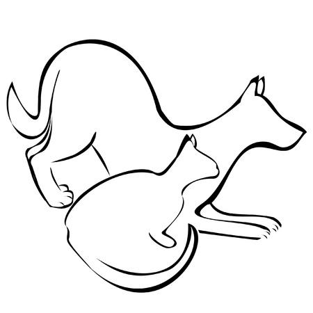 Perro y gato siluetas Vectores