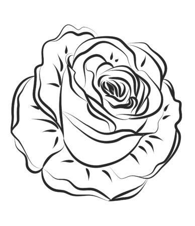 Rose Silhouette met borstels Stock Illustratie