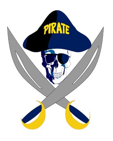 crossed swords: Pirata con gafas, sombrero y dos espadas cruzadas