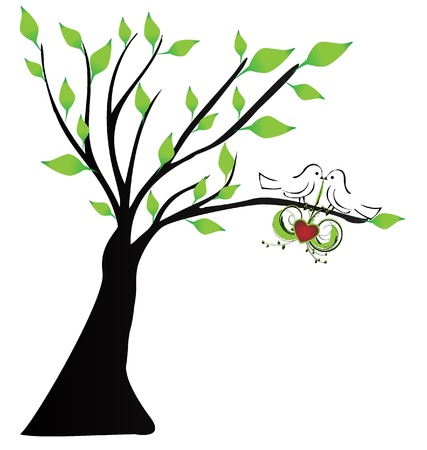 Love birds hanging a heart in a tree Vector