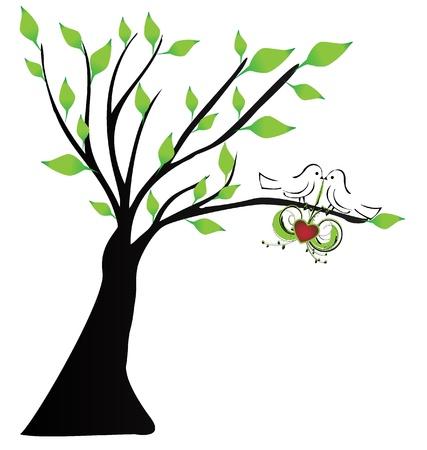 Oiseaux d'amour suspendus un c?ur dans un arbre