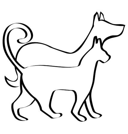 El gato y el perro caminando juntos logotipo