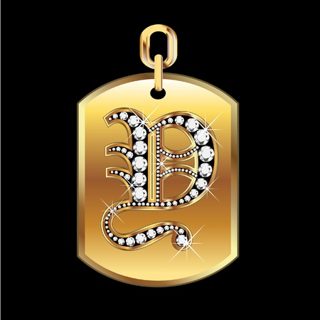 b day gift: Y medal in gold and diamonds vector