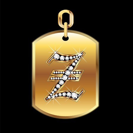 b day gift: Z medal in gold and diamonds vector Illustration