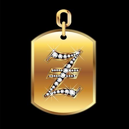 diamond rings: Z medal in gold and diamonds vector Illustration