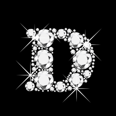 chapiteaux: La lettre D de diamants bling bling Illustration