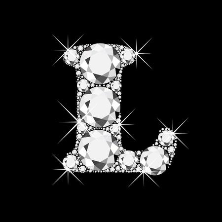 gold letters: La letra L con diamantes Bling Bling