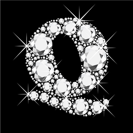 Q letter with diamonds bling bling Vector