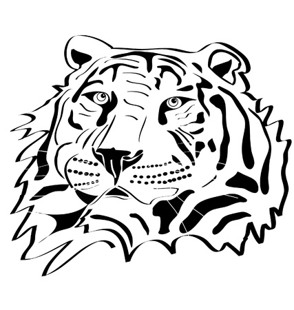 bengal: Tiger head tattoo silhouette Illustration