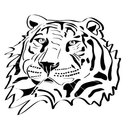 Tiger testa silhouette tatuaggio Archivio Fotografico - 13122989