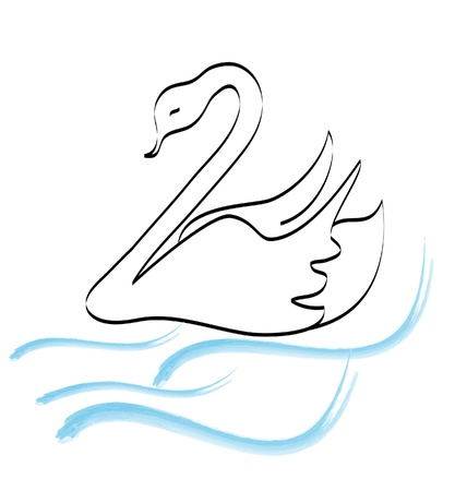 drawings image: Swan silhouette hand drawing logo