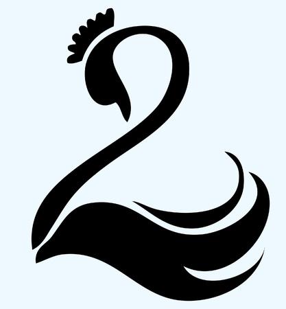 ordinateur logo: Black swan avec le logo de vecteur couronne Illustration