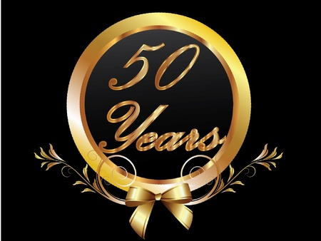 remembered: Gold 50th anniversary birthday vector