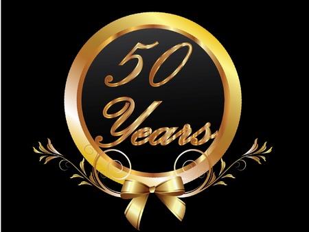 anniversary party: Oro 50 � anniversario vettore compleanno Vettoriali