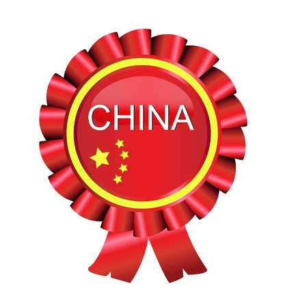 china flag: Medal award ribbon China flag vector