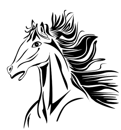 back of head: Wild head Horse stock image vector