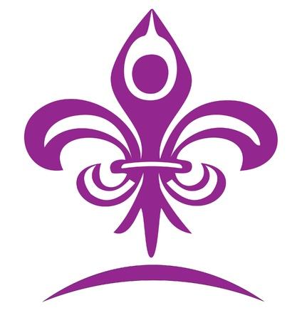 inhalacion: Yoga figura en un dise�o de logotipo de la harina de lis