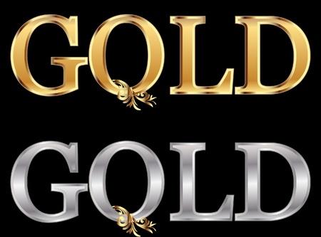 lettres en or: L'or et l'argent stock de vecteur mot