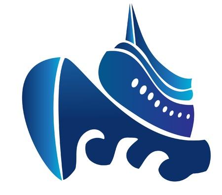 deportes nauticos: Vela crucero barco vector logo Vectores