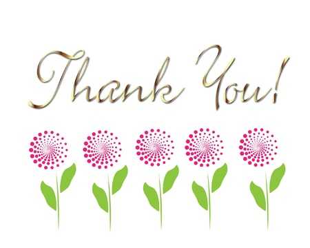 thank you: Card thank you in gold with flowers vector
