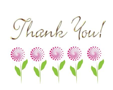 merci: Carte vous remercier de l'or avec le vecteur fleurs