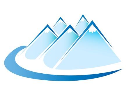logo rock: Bleu glace montagnes logo