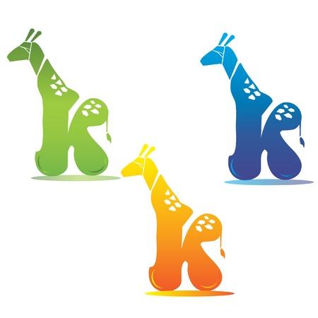 buchstabe k: Giraffe und Buchstaben K Illustration