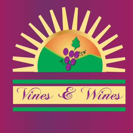 Vines and wines sun mountains logo 矢量图像