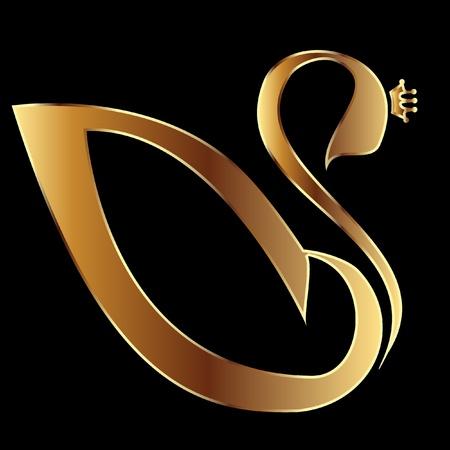Gold Swan met kroon Stock Illustratie