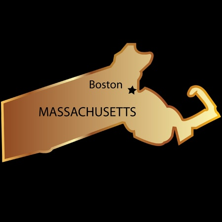 Massachusetts State usa in gold with capital name Vector