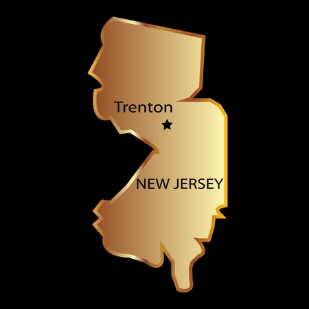 new jersey: New Jersey state usa in gold with capital name Illustration