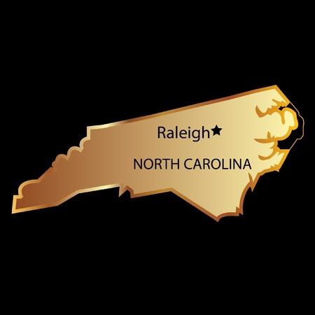 north carolina: North Carolina state usa in gold with capital name
