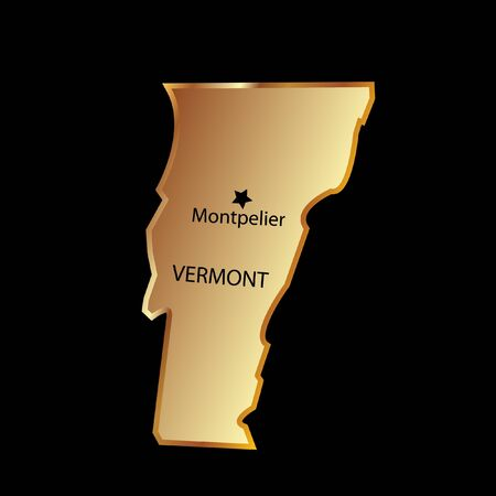 Vermont state usa in gold with capital name Stock Vector - 13458707