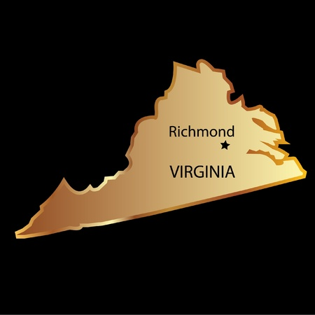 Virginia state usa in gold with capital name Vector