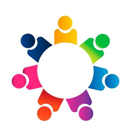 Teamwork business people logo vector Vector