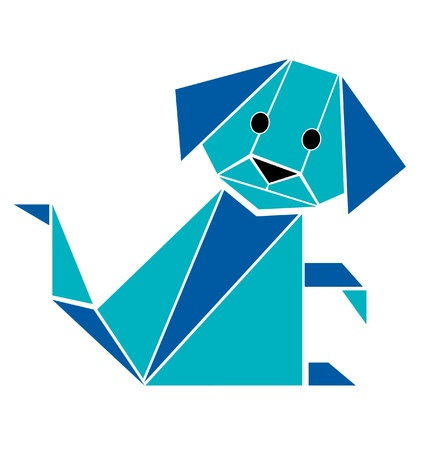 Dog in origami style silhouette vector