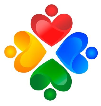 Teamwork liefdadigheid logo vector Stock Illustratie