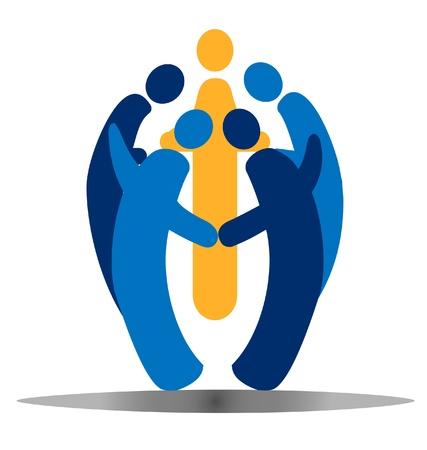 El trabajo en equipo social de las personas vector logo