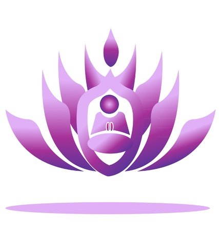 Lotus and yoga men praying Vector