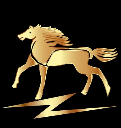 Beauty gold horse Vector