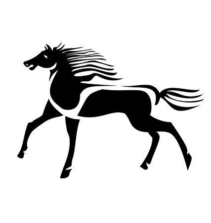 Black wild horse Stock Vector - 13540882