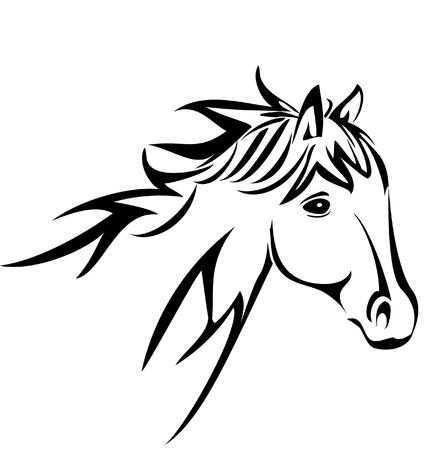 cabeza de caballo: Cabeza de caballo silueta vector logo Vectores