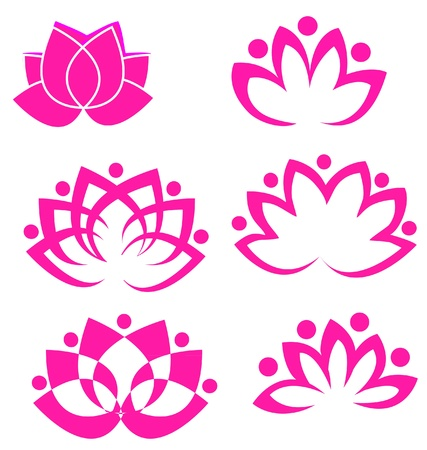 Set van lotusbloemen logo vector