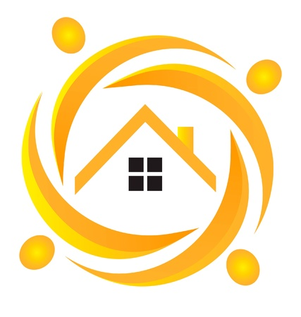 Teamwork real estate logo Vector
